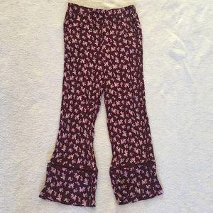 Floral Wide Leg Crop Pants